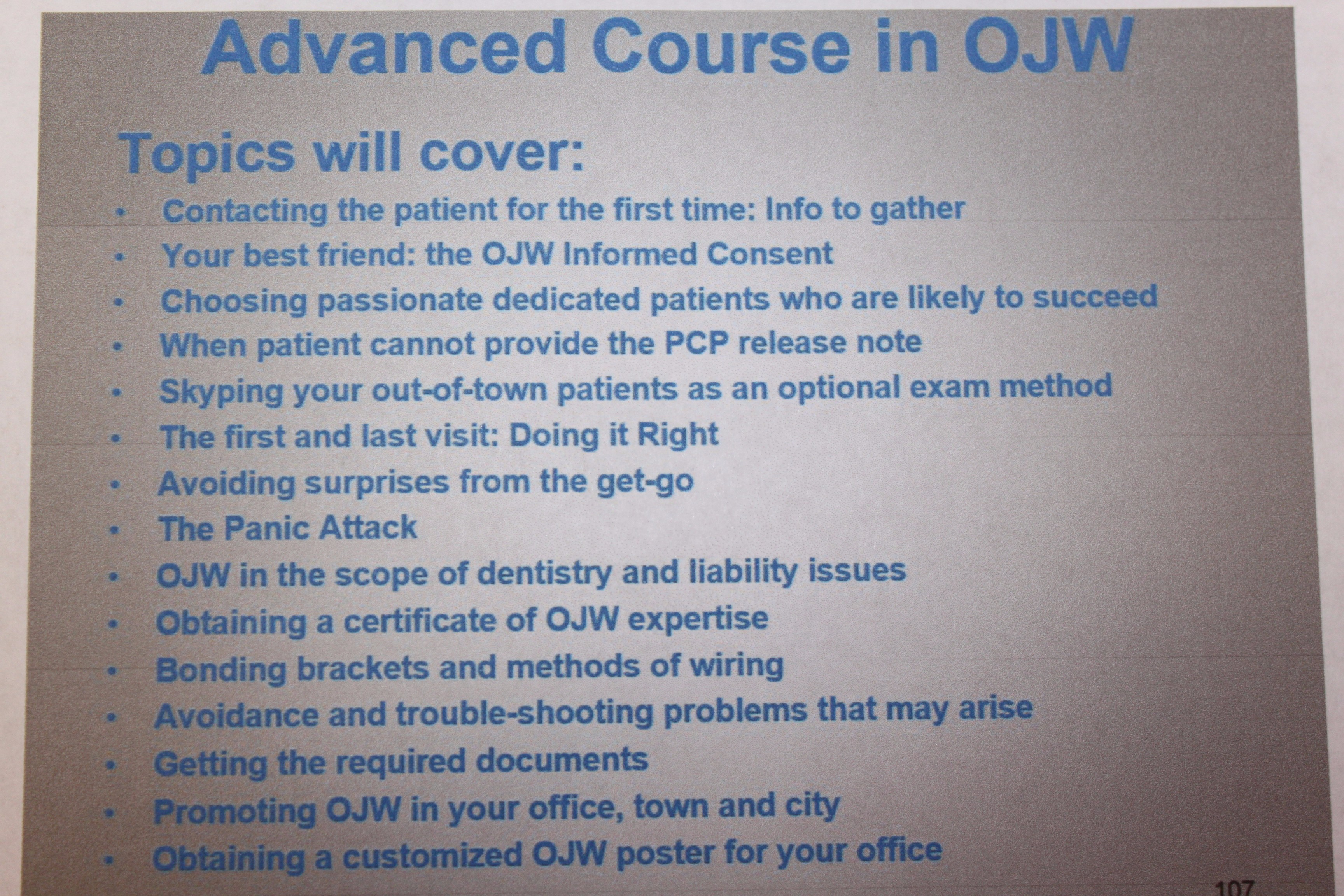 Learn OJW Protocol 1on1: student-doctor acts as OJW patient | www ...